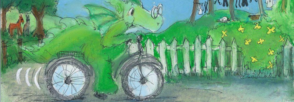 Tegning af Næssi på cykeltur