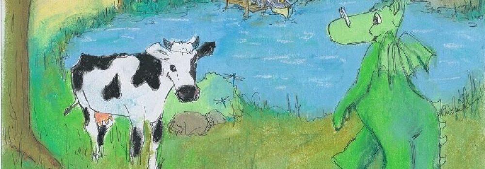 tegning af Næssi og en ko ved en sø